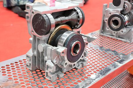 cross section of worm gear pump ; selective focus Stockfoto