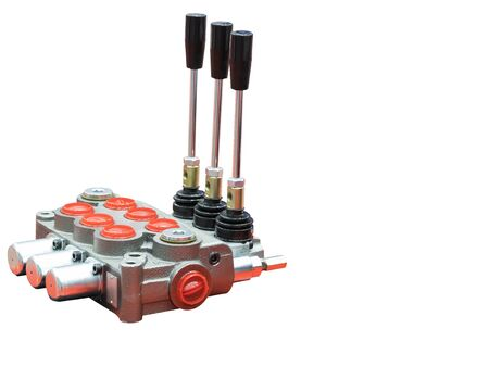 Hydraulic Control valve unit for evaculator , panel  / back hole / truck / White Back ground Reklamní fotografie