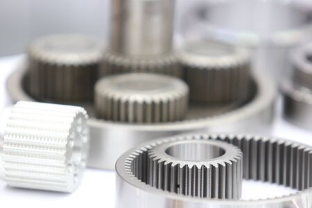 Industrial gear spare parts for heavy machine ; metal industrial background