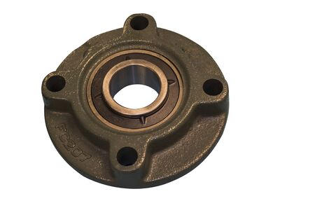 bearing with cast iron housing ; isolated white background ; for maintenance job of industrial equipment