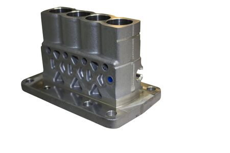 Aluminium casting and machining for injection pump ; automotive Parts ; isolated white engineering industrial