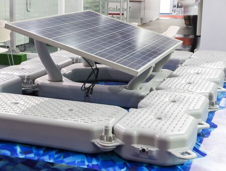 floating solar cell  equipment for solar farm ; engineering background ;renewable energy for saving global warming