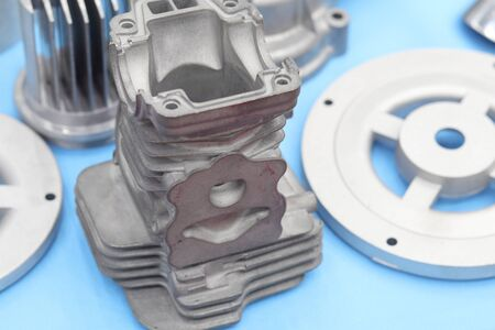 as cast  aluminium high pressure die casting part for automotive and electrical equipment ; engineering industrial background Reklamní fotografie