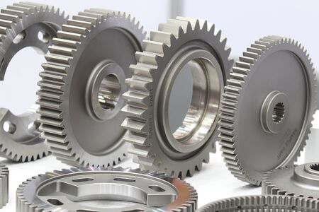 Industrial gear spare parts for heavy machine ; engineering industrial background