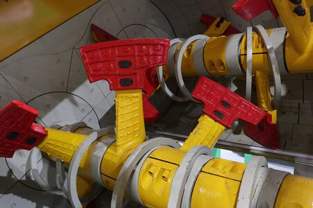 blade inside of planetary mixer is used in PRECAST concrete ; for concrete mixing plant  Banque d'images