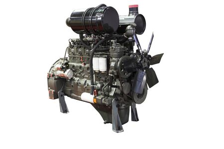 Diesel engine with isolated white background ; industrial equipment