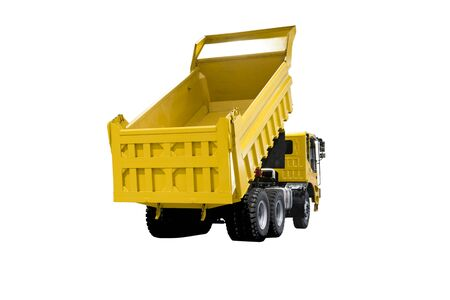 A dump truck, a dumper truck, tipper truck, is used for taking dumps sand for construction ; isolated white background