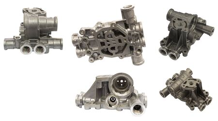 aluminium die casting product with machining process ; industrial background ; isolated white background ; clipping mask Banque d'images