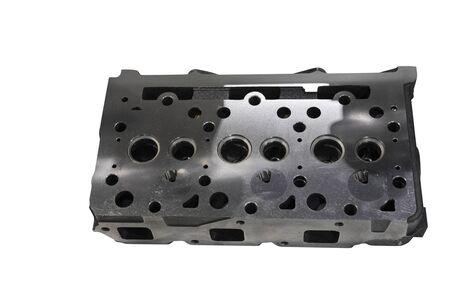 As machined head cylinder from iron casting ; isolated white background ;clipping mask Banque d'images