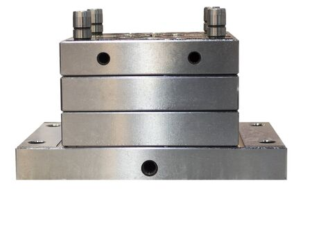 Assemblies metal parts for  tooling or mold manufacturing isolated white