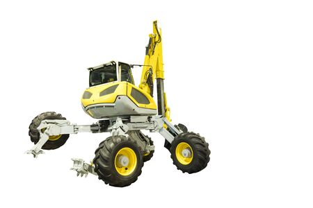 spider walking excavator for digging in slope site ; isolated white background  Banque d'images