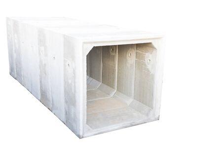 Large size square concrete manholes isolated on white