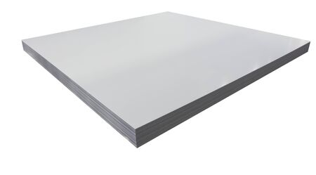 Stack of steel sheets isolated white