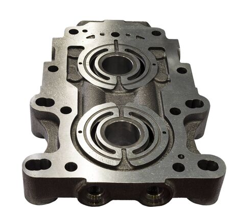 Pump casting part manufacturing by high accuracy cnc machining machine,with rust protection,oil coated, high technology automotive part industrial, precision part,cutting process,casting process ; isolated white background
