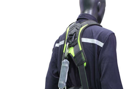 Industrial safety harness as equipment for high ground working ; isolated white background