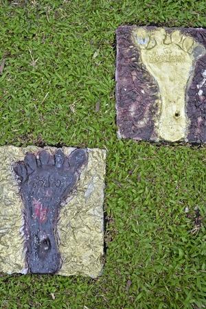 foot prints: Foot prints that demarcate between 2 provinces Stock Photo