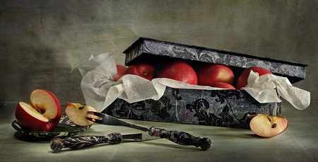 still life with apples in the box photo