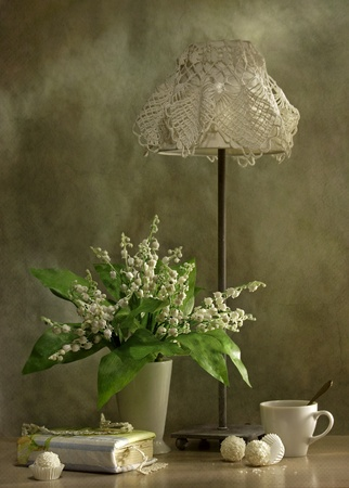 still-life with lilies of the valley and a reading lamp photo