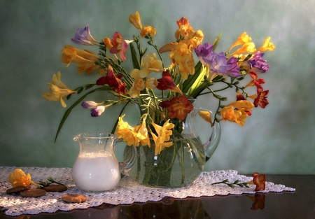 still life with bouquet of flowers, milk and biscuits photo