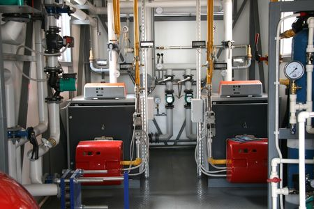 independent: Interior of independent block gas boiler-house Stock Photo