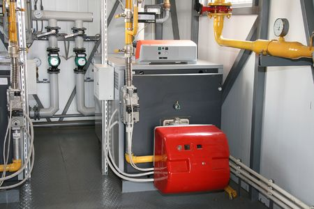 The gas steel boiler established in modern independent boiler-house Stock Photo - 946538