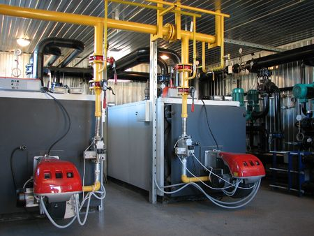 Inter of independent modern gas boiler-house with two steel boilers Stock Photo - 946542