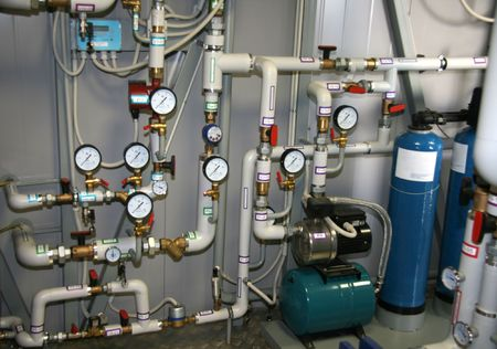 Pump group in an interior of modern boiler-house Stock Photo - 1000648