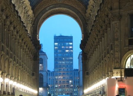 strenght: Kind of evening Milan from gallery in city centre Stock Photo