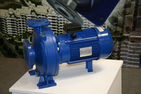 The water centrifugal pump with the electromotor Stock Photo