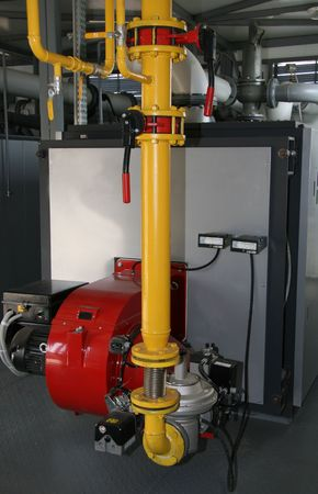 The gas steel boiler established in modern independent boiler-house photo