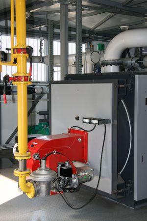 The gas steel boiler established in modern independent boiler-house Stock Photo - 2894187