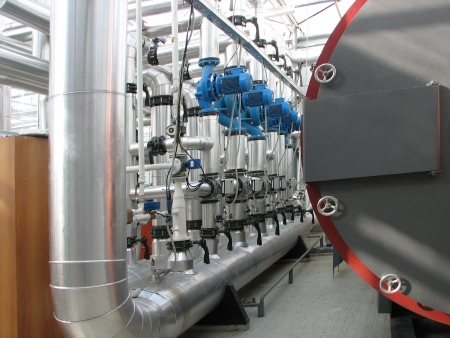 independent: Interior of independent boiler average capacity. Pump group Stock Photo