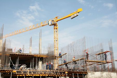 armature: Installation of armature on construction of a building