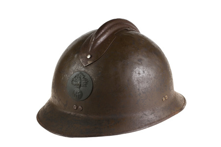 sewn up: Ancient French helmet of times of the First World War