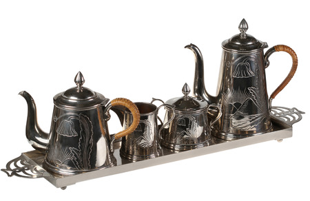 Tea set of ware from cupronickel  Isolated