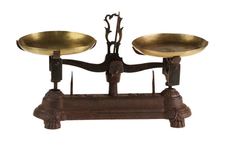 Ancient old scales of lever type with the weight   isolated