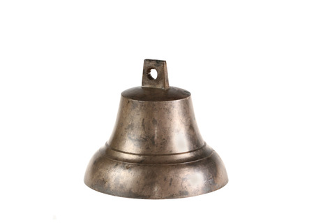 Ancient bronze hand bell for pets   isolated
