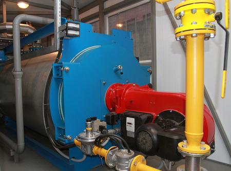 The gas equipment of the boiler in modern boiler-house Stock Photo