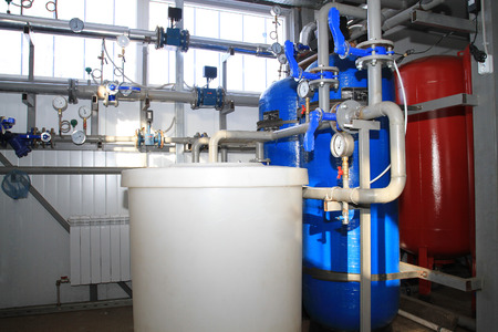 The equipment of chemical processing of water for independent boiler-house Stock Photo
