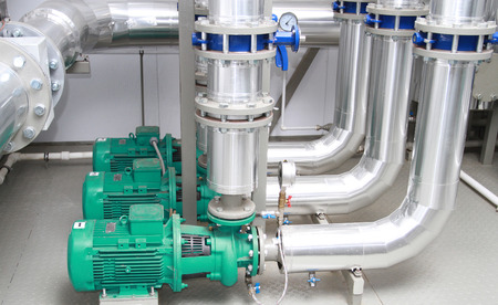 Three of powerful pumps in modern boiler-house