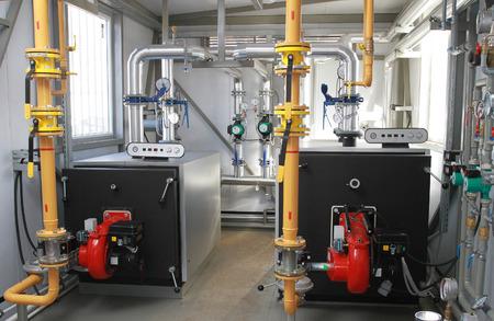 lamellar: The equipment in a modern gas boiler-house Stock Photo