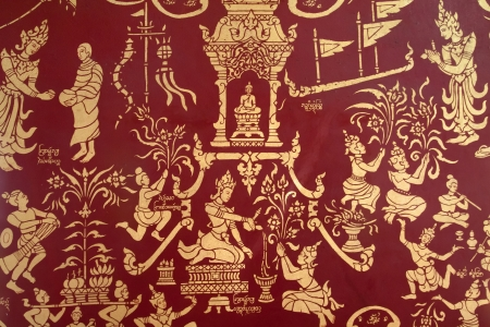 Painting art on wall at temple about Buddha
