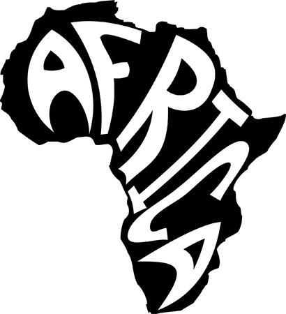 Kaart van Afrika met het woord in