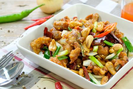 pollo: Kung Pao de pollo con pimientos y verduras