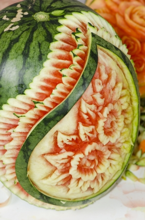 Thai fruit carving handicrafts photo
