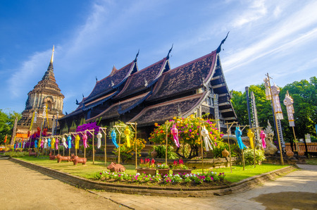 chiang mai: Old wooden church of Wat Lok Molee, Chiangmai, Thailand