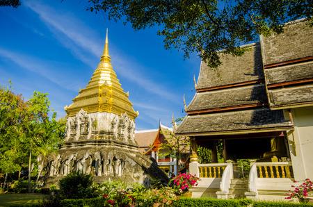 Stucco sculpture elephant pagoda Wat Chiang Man, Chiang Mai, Thailand photo