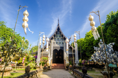 molee: Old wooden church of Wat Lok Molee ,Chiangmai ,Thailand