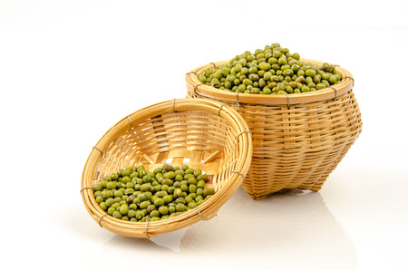 Green bean or mung bean on white background. photo