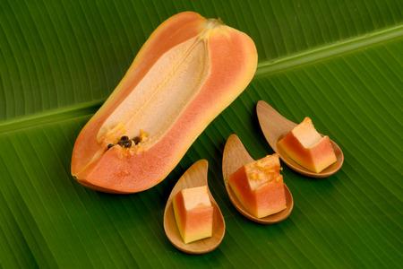 l plate: Papaya, Pawpaw, Tree melon (Carica papaya L.) Papaya dessert on plate, Fruits for Healthy Eating. Stock Photo